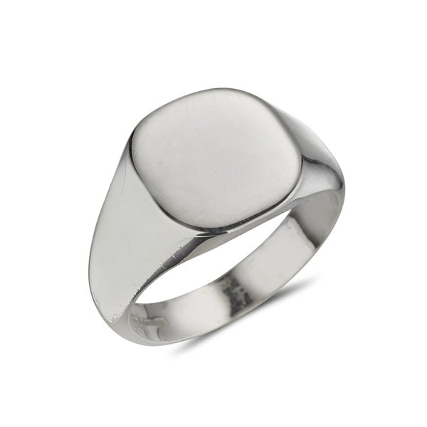 sterling silver gents signet ring cushion shaped plain