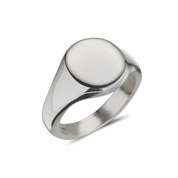 sterling silver gents plain signet ring oval shape