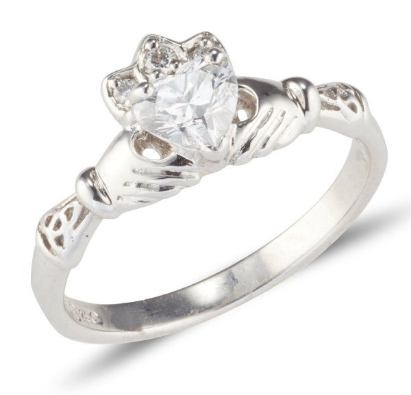 sterling silver birthstone claddagh ring with heart shaped birthstone and celtic detail at the sides