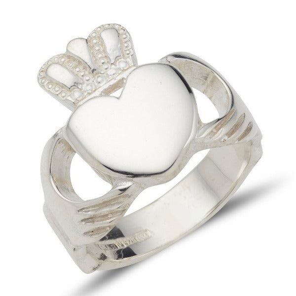 sterling silver heavy thick gents claddagh ring