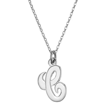 Personalised script initial in sterling silver