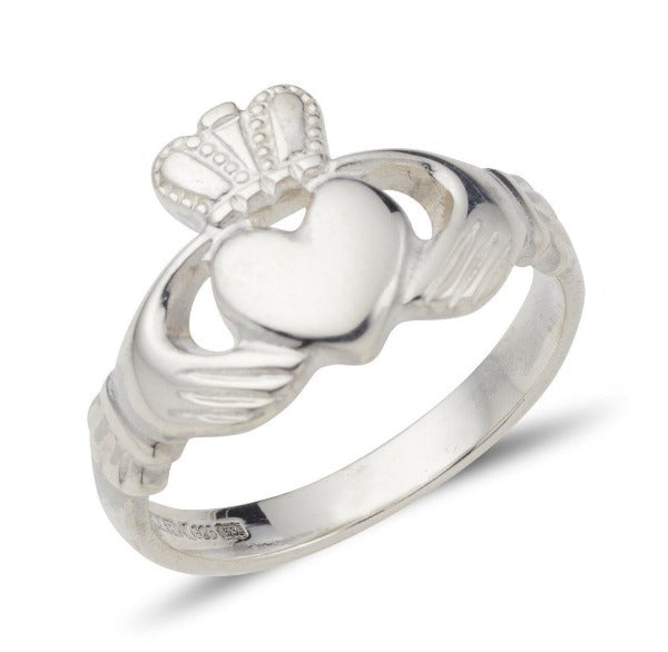 sterling silver ladies claddagh ring plain