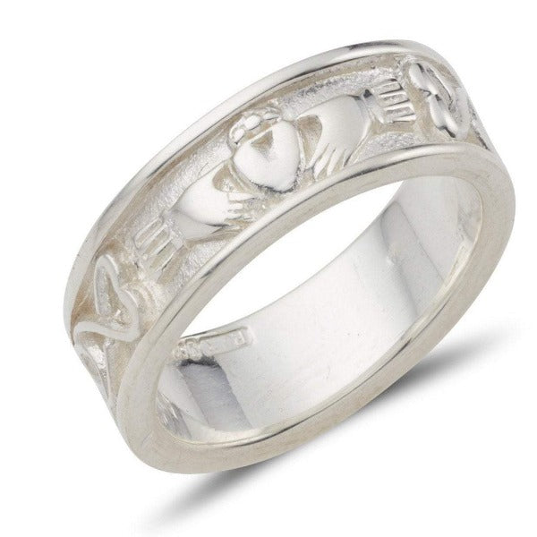 This ladies sterling silver claddagh band has the claddagh to the front and a celtic pattern around the rest of the ring, it is 6mm wide
