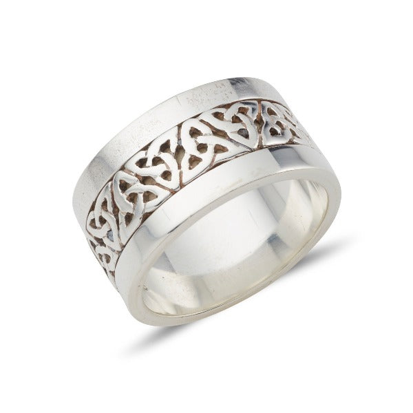 Sterling silver extra wide 12mm celtic design ring. the centre celtic design is in silver with a black oxidized background, the rimms are approx each 2mm wide and with a polish finish