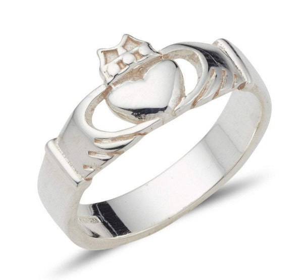 sterling silver modern claddagh band plain and simple