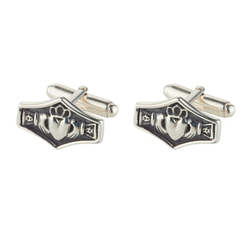 sterling silver claddagh cuff links classic style wit easy to use torpedo fittings, modern oxidised finish