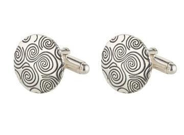 sterling silver newgrange spiral cufflinks, these are round in shape with lots of spirals