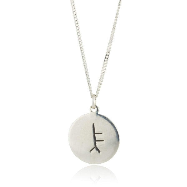 sterling silver personalised ogham pendant on chain this is a 14mm round flat disc