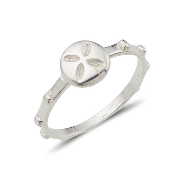 sterling silver rosary ring with a cross on the top