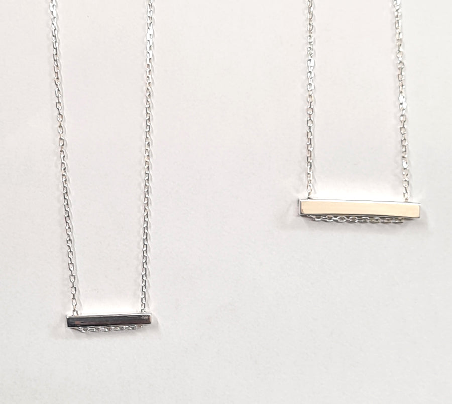 Sterling silver personalised bar pendant and chain
