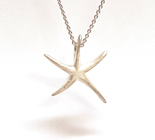 sterling silver small star fish where the chain goes through the stay