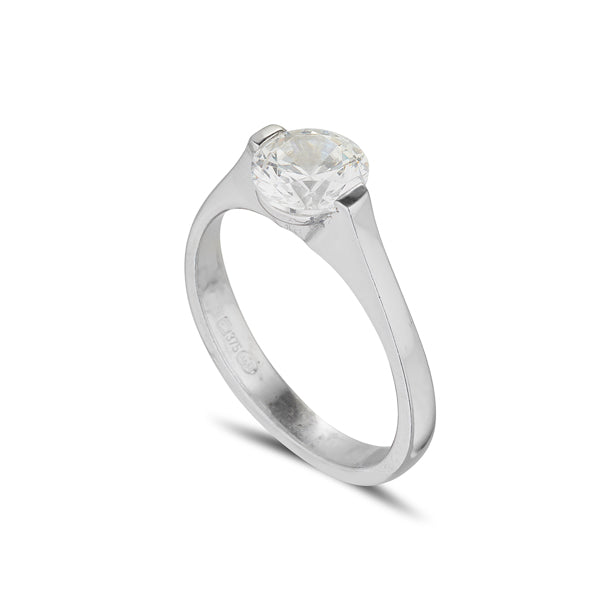 18ct White gold Solitaire engagement ring with suspended Diamond
