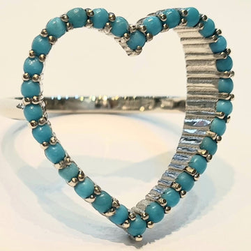white gold bespoke turquoise ring open heart