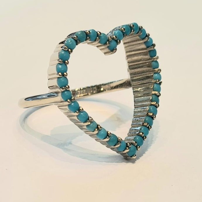 white gold turquoise ring open heart