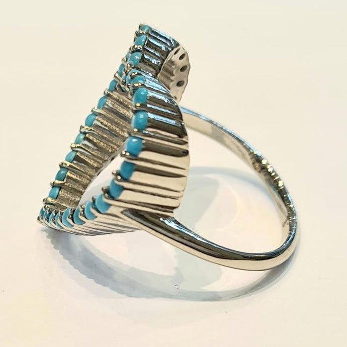 Turquoise open heart white gold ring