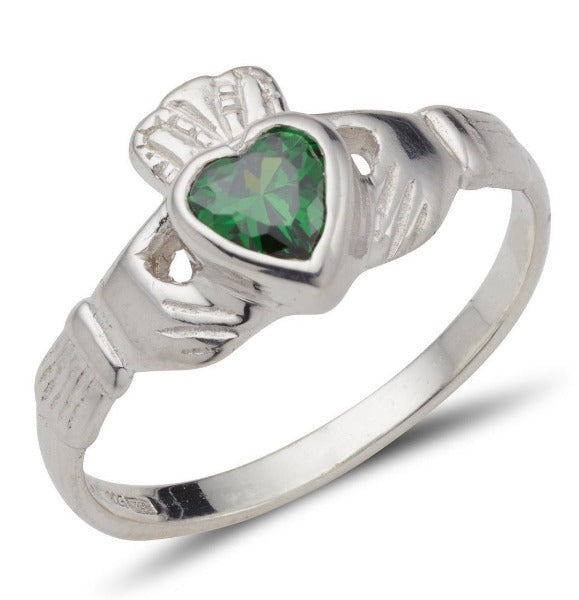 white gold ladies claddagh ring with heart shaped birthsone