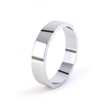 white gold classic plain flat profile wedding ring