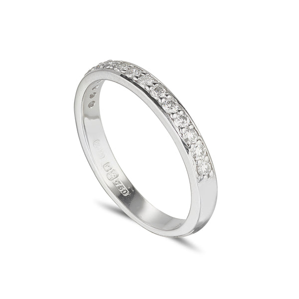 18ct white gold diamond grain set eternity with  round brilliant cut diamonds