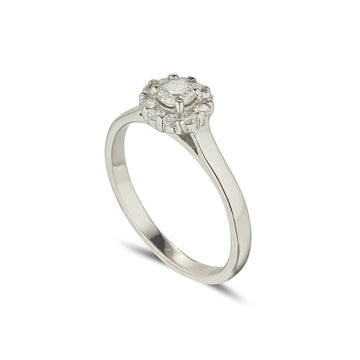 18ct white gold small cluster ring