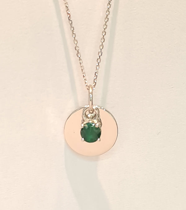 9ct white gold disc and chain with hand engraved initial and birthstone