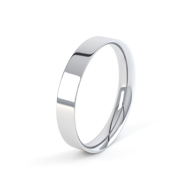 white gold easy fit wedding band with a plain polished finish and curved inside,