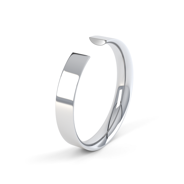 white gold easy fit wedding band with a plain polished finish and curved inside,.