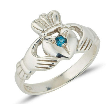 white gold birthstone claddagh ring with a small round birthstone set in the centre of the heart