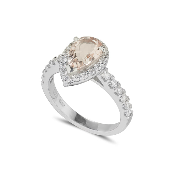 18ct white gold morganite and diamond pear shape halo dress ring