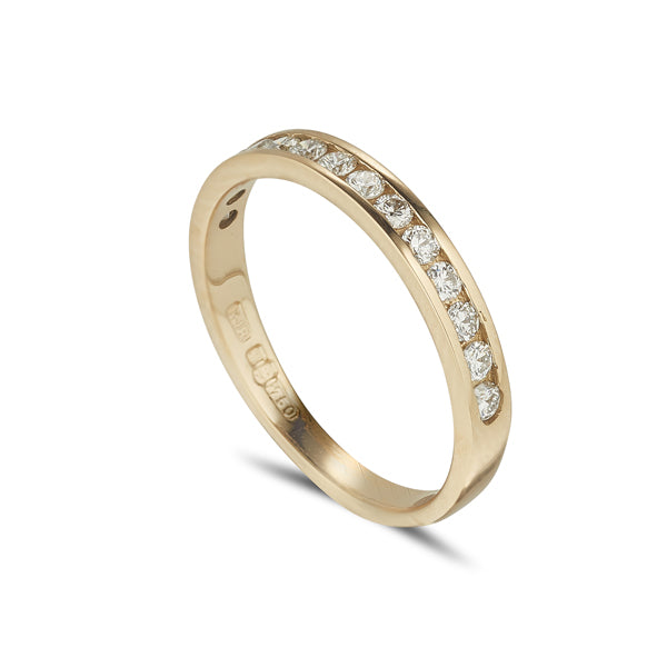 18ct yellow gold 1/2 eternity style ring with round channel set diamonds