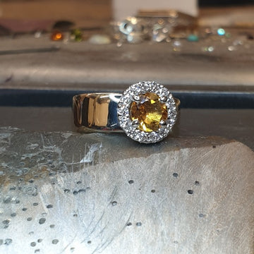 18ct yellow gold wide shank ring, here we have mounted a white gold cluster halo setting with Citrine and diamond