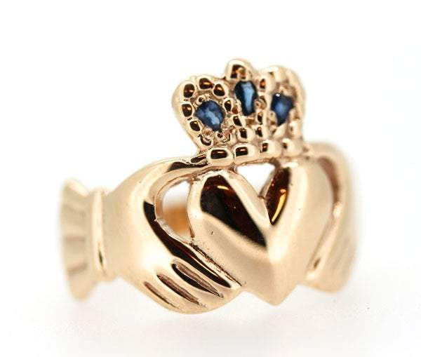 9ct yellow gold large head claddagh ring, it is 15mm from crown to the bottom of the heart, I have set 3 pear shaped sapphires in the crown