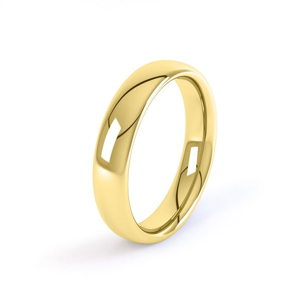 yellow gold 6mm court shaped wedding ring