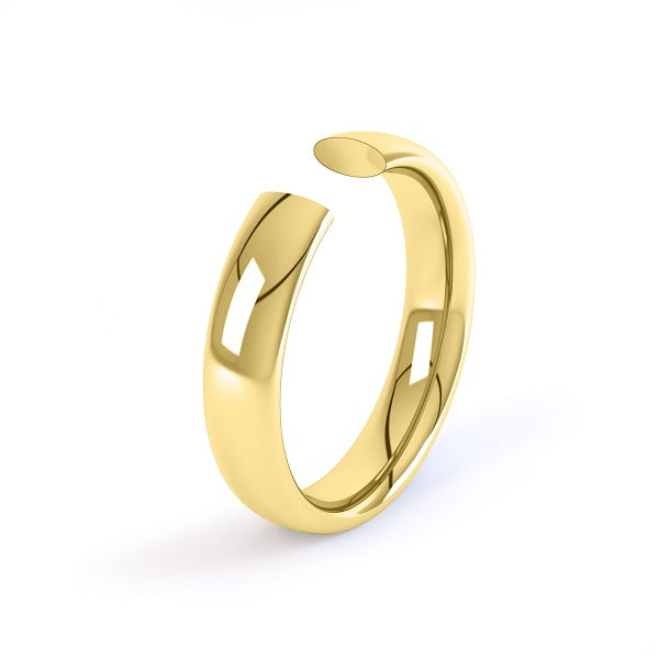 yellow gold 4mm court shaped wedding ring