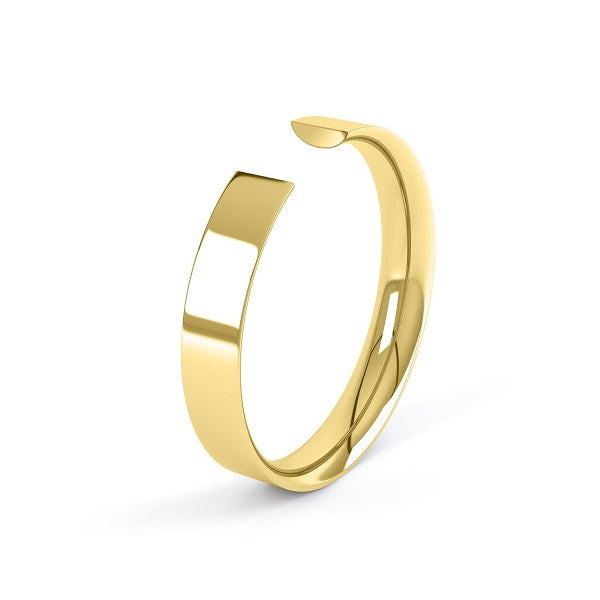 yellow gold 2mm easy fit profile wedding ring