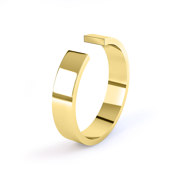 yellow gold 3mm flat profile wedding ring