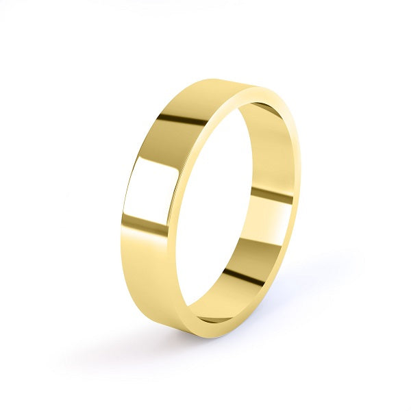 yellow gold 5mm flat profile wedding ring