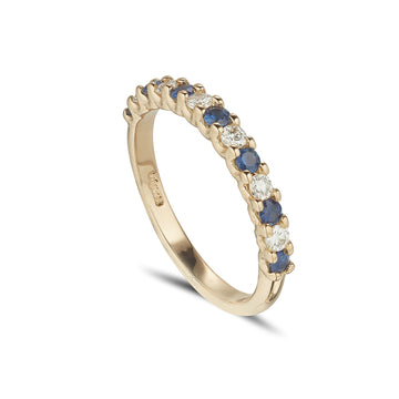 18ct yellow gold sapphire and diamond claw set eternity ring