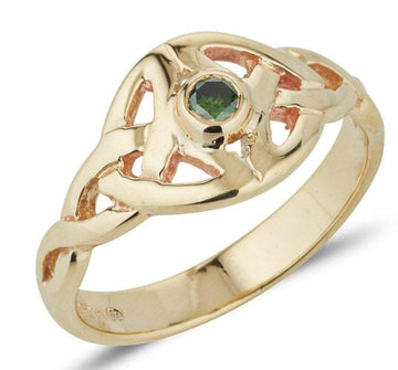 yellow gold Twin celtic trinity triskle knot ring the knots are touching at the widest point and we have set a small round semi precious gemstone in the centre of the ring,  it is bezel set