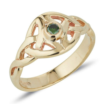 yellow gold Twin celtic trinity triskle knot ring the knots are touching at the widest point and we have set a small round precious gemstone in the centre of the ring, it is bezel set