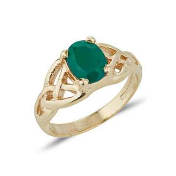 yellow gold twin celtic trinity triskle knot ring set with a 8mm * 6mm oval brilliant cut green agate within 4 claws