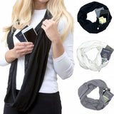 Hidden Pocket Infinity Scarf - Convertible Infinity Scarf With Zipper Pocket