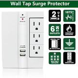 N'Pow On-Wall Swivel Surge Protector with 6 AC Outlets and 2 USB Ports