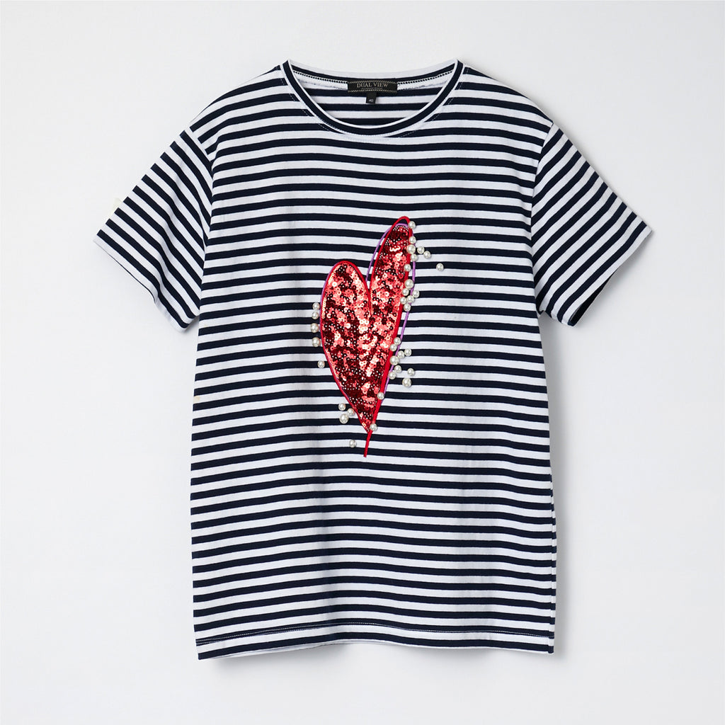 【21SS商品】Heart Motif Striped T-Shirt