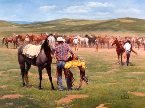 "A Good Day for the Gray by Steve Devenyns is a 36"" x 48"" Original Oil Painting featuring a cowboy changing horses at noon.. His Award winning art has been featured in the Buffalo Bill Art Show, Quest for the West Art Show, National Museum of Wildlife Art, Cheyenne Frontier Days Governor's Art Show, Old West Museum, and America's Horse."