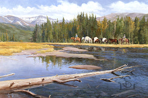 "Along the Madison by Steve Devenyns is a 20"" x 30"" Original Oil Painting featuring a pack string heading into the high country along the Madison River. His Award winning art has been featured in the Buffalo Bill Art Show, Quest for the West Art Show, National Museum of Wildlife Art, Cheyenne Frontier Days Governor's Ar…"