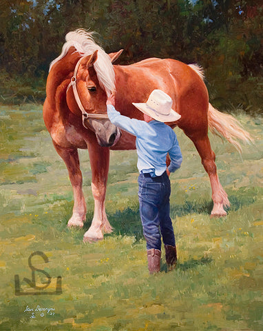 "Buddies by Steve Devenyns is a 24"" x 30"" Original Oil Painting featuring a young boy and his horse. His Award winning art has been featured in the Buffalo Bill Art Show, Quest for the West Art Show, National Museum of Wildlife Art, Cheyenne Frontier Days Governor's Art Show, Old West Museum, and America's Horse."