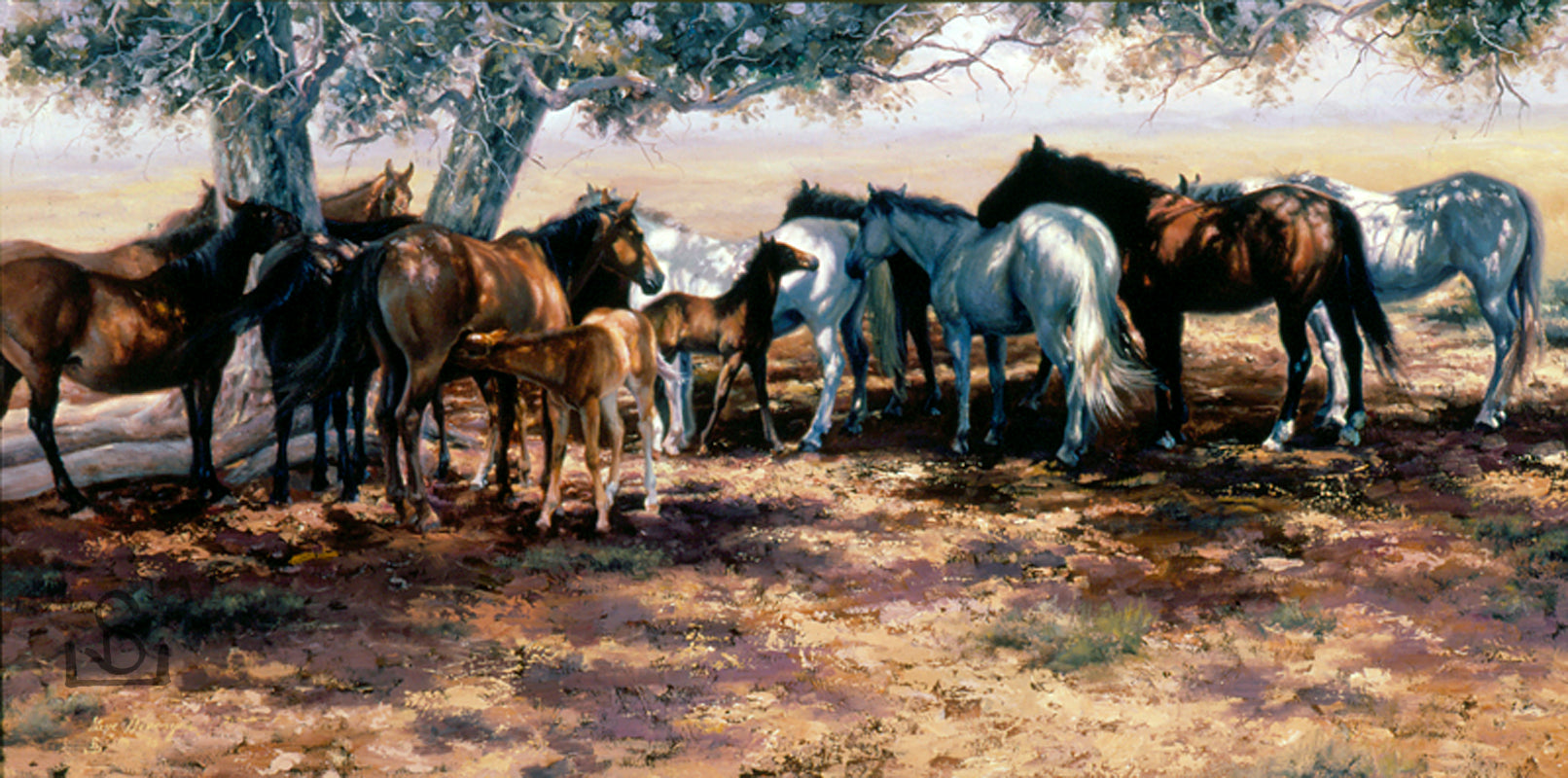 Cheyenne Social Club by Steve Devenyns is a Standard Print in various sizes. This piece features a small herd of horses finding shade in a tree. Steve Devenyns is a world renowned Fine Western Artists located in Cody, Wyoming. His Award winning western art has been featured in the Buffalo Bill Art Show, Prix de West.
