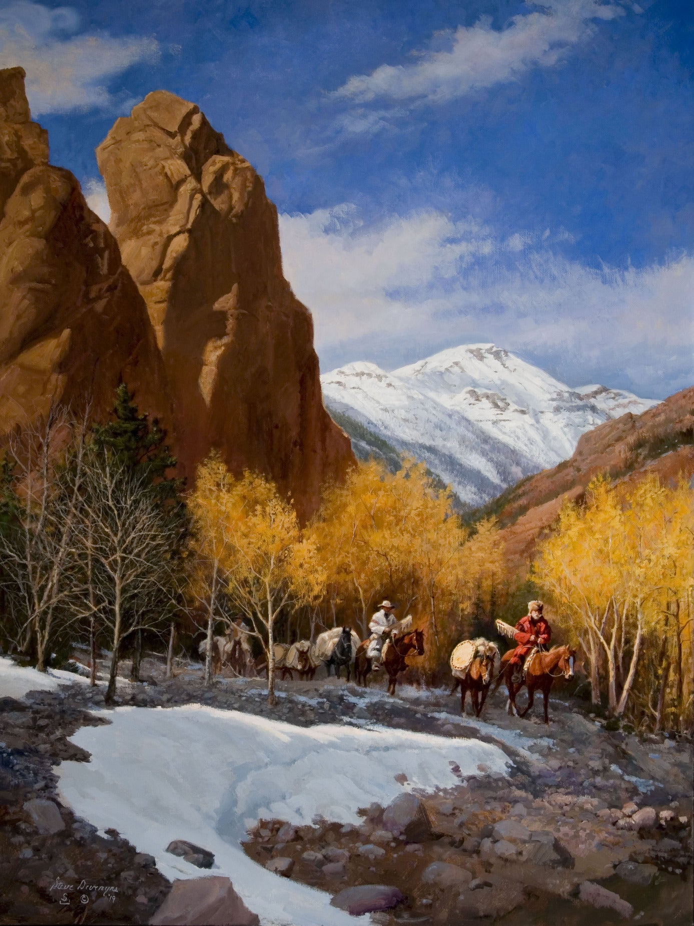 Deer Creek Trappers is a Oil Painting on Linen by the famous Western and Cowboy Artist Steve Devenyns. Steve has been featured in the Buffalo Bill Art Show, Prix de West Art Show, Bradford Brinton Museum. Original Paintings of Ranching, Wildlife and Cowboy art. True depictions of the American Cowboy modern and past.