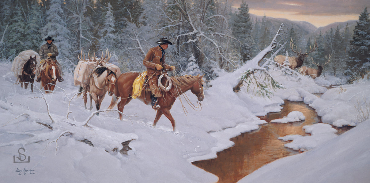 """Double Take"" by Steve Devenyns is a available in Canvas Transfer and Canvas Transfer Edition or Canvas Transfer Artist Proof. Featuring an American Cowboy with a pack string and beautiful Rocky Mountain Elk. Famous Artist Steve Devenyns Original Paintings of Wildlife and Cowboy are true depictions of American Cowboy."
