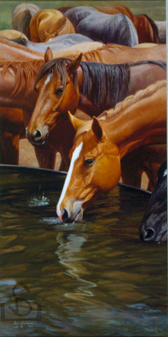 Drinkin Buddies by Steve Devenyns, famous American Western fine artist. Available in Standard Print or Canvas Transfer. Featured in Cheyenne Frontier Days Governor's Art Show, Old West Museum, America's Horse in Art Show. Original Paintings of Ranching, Wildlife and Cowboy true depictions of the American Cowboy.